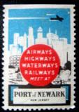 S2342 USA Port of Newark vigneta necirculata extrem de rara 1v, America de Nord, Transporturi
