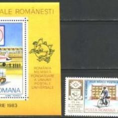 Romania 1983 - ZIUA MARCII POSTALE. POSTAS, serie cu vinieta si colita F163