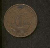 Bnk mnd Marea Britanie Anglia 1/2 penny 1943 corabie, Europa
