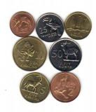 bnk mnd zambia set 7 monede necirculate ,fauna , 1983-1992