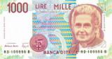ITALIA █ bancnota █ 1000 Lire █ 1990 █ P-114b █ UNC █ necirculata