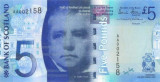 SCOTLAND █ bancnota █ 5 Pounds █ 2007 █ P-124 █ BANK OF SCOTLAND █ UNC