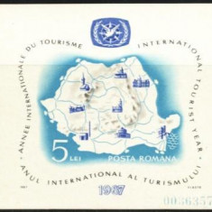 Romania 1967, TURISM, HARTA ROMANIEI, colita nestampilata Z651