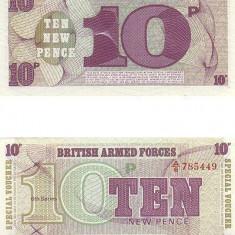 bnk bn Anglia British armed force 10 pence , emisiunea 6 , unc