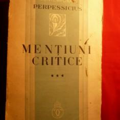 PERPESSICIUS - Mentiuni Critice - 1936