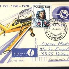 C.P. , Aerofilatelie , circulata Polonia -  Romania , 1978