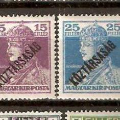 Timbre Ungaria 1918/*237 si 239 - KARL supratipar