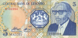 LESOTHO █ bancnota █ 5 Maloti █ 1989 █ P-10 █ UNC █ necirculata