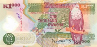ZAMBIA █ bancnota █ 1000 Kwacha █ 2008 █ P-44f █ POLYMER █ UNC █ necirculata foto