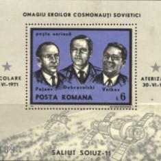 ROMANIA 1971 - COSMONAUTI EROI, SOIUZ 11, colita nestampilata, AF8