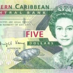 INSULELE CARAIBE █ bancnota █ 5 Dollars █ 2008 █ P-47 █ UNC █ necirculata