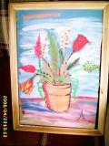 Tablou, pastel - Flori, semnat A. Sandu