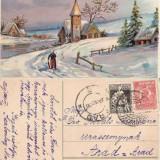 Carte postala, felicitare in relief, 1927