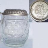 Halba din sticla cu capac din zinc (A)