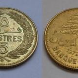 LIBAN 5 PIASTRES 1972 AUNC **, Asia