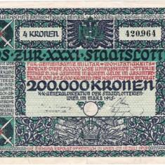 BILET LOTERIE TRANSILVANIA 1915 - Bilet Loterie Numismatica