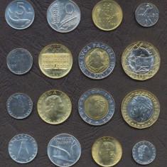 ITALIA SET COMPLET DE MONEDE █ 5+10+20+50 +100+200+500+1000 Lire █ 1990-1998 UNC