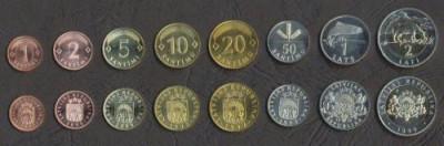 LETONIA █ SET COMPLET DE MONEDE █ 1+2+5+10+20+50 Santim 1+2 Lati █ 1992-2008 UNC foto
