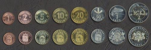 LETONIA █ SET COMPLET DE MONEDE █ 1+2+5+10+20+50 Santim 1+2 Lati █ 1992-2008 UNC