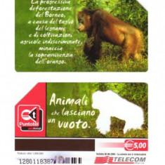 CARTELA ITALIA - FAUNA urangutan - PENTRU COLECTIONARI ** - Cartela telefonica straina