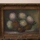 Crizanteme  ( pictura pe carton )