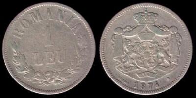 * Moneda 1 leu 1874 foto