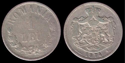 * Moneda 1 leu 1874