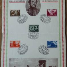 Suvenir filatelic , grof Szecheny Istvan , Ungaria , 1941