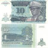 + Bancnota UNC Zair 10 nouveaux zaires 1993 +