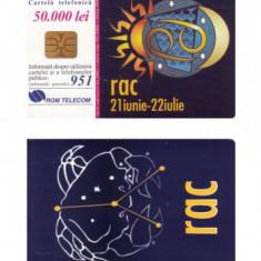CARTELA ROMANIA ROMTELECOM ZODII - RAC - PENTRU COLECTIONARI ** - Cartela telefonica romaneasca