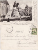 Cluj - Statuia lui Matei Corvin - clasica 1903, Circulata, Printata