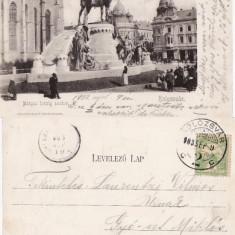 Cluj - Statuia lui Matei Corvin - clasica 1903 - Carte Postala Transilvania pana la 1904, Circulata, Printata
