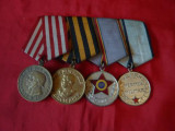 Bareta cu 4 MEDALII ROMANESTI si RUSESTI  - 1950