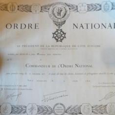 BREVET DE COMANDOR AL ''ORDINULUI NATIONAL'' COTE D'IVOIRE