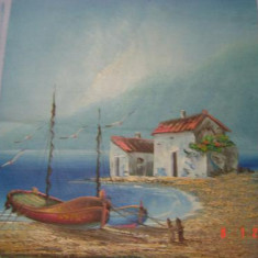 Ulei pe panza superb pictat semnat Prus - Pictor roman