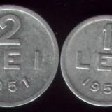 * Lot 2 monede 1 leu si 2 lei 1951 - Moneda Romania