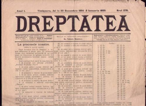 * Ziarul DREPTATEA   1894 - 1895 Timisoara foto mare