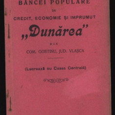 Statutele Bancei Dunarea, com. Gostinu, jud. Vlasca, 1911 - Carte Editie princeps