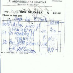 Doc.73 -P.Andreescu Fii, Craiova - Sectia Fierarie -nedatat - Hartie cu Antet