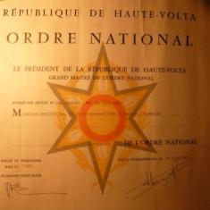 Brevet pt. COMANDOR al Ordinului National HAUTE-VOLTA