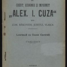 Stautul Bancii A. I. Cuza din com. Bascoveni, jud. Vlasca, 1911 - Carte Editie princeps
