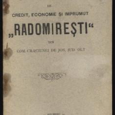 Statutele Bancei Radomiresti, com. Craciunei de Jos, jud. Olt, 1906 - Carte Editie princeps
