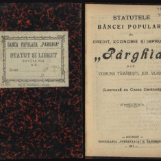 Statutele Bancii Populare Parghia, com. Tamasesti, jud. Vlasca, 1911 - Carte Editie princeps