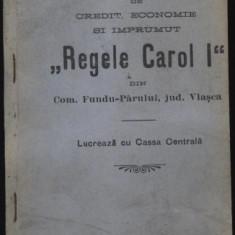 Statutul Bancii Regele Carol I, com.Fundu Parului, jud.Vlasca, 1914 - Carte Editie princeps