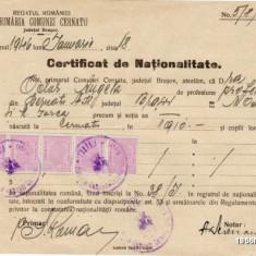 ROMANIA REGAT CERTIFICAT DE NATIONALITATE DIN 1946 CU TIMBRE ** - Diploma/Certificat