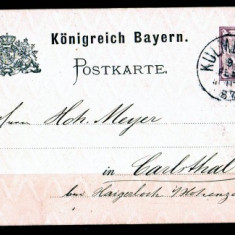 1887 Carte postala Bayern filigram