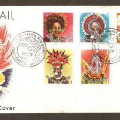FDC - Papua Noua Guinea 1977-1978 - Folclor pe 2 plicuri - Plic Papetarie