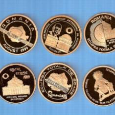 SET MONETARIE 5 MEDALII ECLIPSA DE SOARE 1999+CUTIE - Medalii Romania