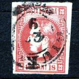 1868 L.P 24 Carol cu favoriti stampilat