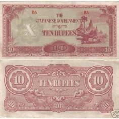 Bnk bn burma 10 rupii 1942-1944 vf, ocupatia japoneza *